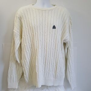 Izod Size XL Cable Knit Mens Sweater Light  Cream